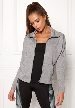 ONLY PLAY Zira Glitter Zip Sweat Medium Grey Melange Bubbleroom.se