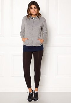ONLY PLAY Zira Glitter Zip Sweat Medium Grey silver Bubbleroom.dk
