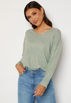 ONLY Rica Life L/S V-Neck Pullover Knit Chinois Green Bubbleroom.se