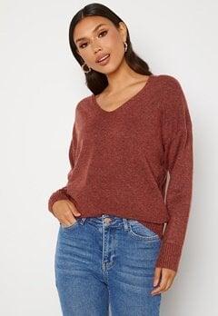 ONLY Rica Life L/S V-Neck Pullover Knit Red Ochre Bubbleroom.se