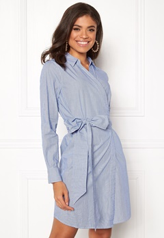 ONLY Rosel LS Wrap Dress Medium Blue Denim Bubbleroom.se