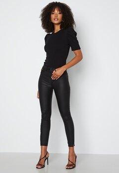 ONLY Royal HW Coated Ankle Zip Pant Black Det: Gold Zips bubbleroom.se