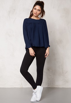 ONLY Rush ls Top Dark Blue Denim Bubbleroom.fi