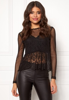 ONLY Sam L/S Lace Top Black Bubbleroom.se