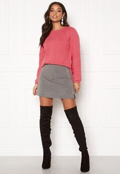 ONLY Sara Button Skirt DK Grey Melange Bubbleroom.se