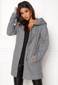 ONLY Sedona Light Coat Light Grey Melange Bubbleroom.se