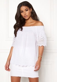 ONLY Shery Anglaise Top White Bubbleroom.se