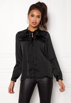 ONLY Sila L/S Ruffle Shirt Black Bubbleroom.se