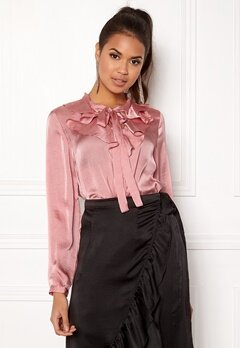 ONLY Sila L/S Ruffle Shirt Blush Bubbleroom.se