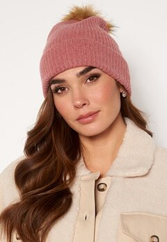 ONLY Simma Knit Pompom Beanie Dusty Rose Bubbleroom.se