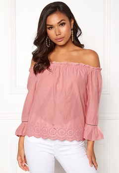 ONLY Skyla Off Shoulder Top Blush Bubbleroom.se