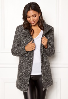 ONLY Sophia Boucle Wool Coat Dark Grey Melange Bubbleroom.se