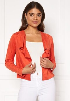 ONLY Stacy Drapy Faux Suede Jacket Spicy Orange Bubbleroom.se
