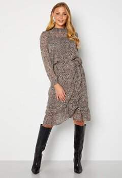 ONLY Star Fake Wrap Skirt Taupe Gray AOP Leo Bubbleroom.se