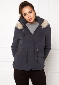 ONLY Starlight Fur Parka Blue Graphite Bubbleroom.se