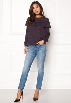 ONLY Sui L/S Ruffle Top Aop Reflecting Pond 2 Bubbleroom.no