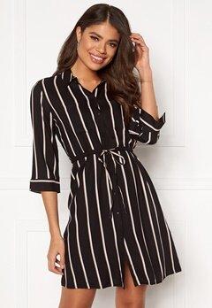 ONLY Tamari 3/4 Shirt Dress Black, Stripes Bubbleroom.se