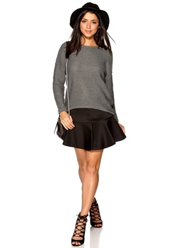 ONLY Tina L/S Pullover Knit Medium Grey Melange Bubbleroom.se