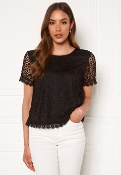ONLY Trissy Lace SS Top Black Bubbleroom.se
