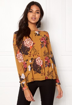 ONLY Uma L/S Peplum Top Aop Chai Tea Bubbleroom.se