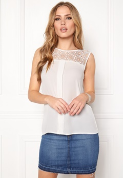 ONLY Venice s/l Lace Top Cloud Dancer Bubbleroom.fi