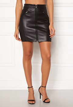 ONLY Violet Faux Leather Skirt Black Bubbleroom.se