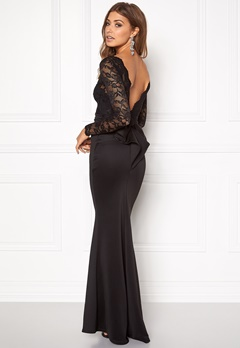 Goddiva Open Back Lace Dress Black Bubbleroom.fi