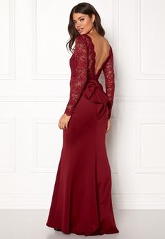 Goddiva Open Back Lace Dress Wine Bubbleroom.se