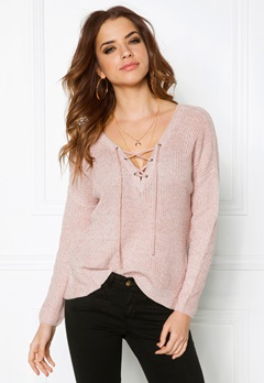 ONLY Peyton L/S Lace Up Rose Dawn Bubbleroom.fi
