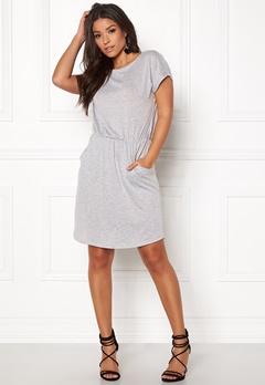 Pieces Billo SS O-Neck Dress Light Grey Melange Bubbleroom.se