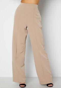 Pieces Bossy HW Wide Pants Silver Mink Bubbleroom.se
