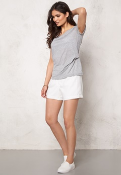 Pieces Brigita Tee Light Grey Melange Bubbleroom.no