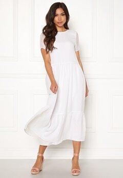 Pieces Casandra SS Midi Dress Bright White Bubbleroom.se