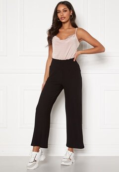 Pieces Curl HW Cropped Pants Black Bubbleroom.se