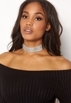Pieces Diva Glitter Choker Silver Colour Bubbleroom.se