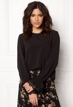 Pieces Dolisa LS Blouse Black Bubbleroom.se