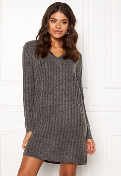 Pieces Fanni LS Long Wool Knit Dark Grey Melange Bubbleroom.se