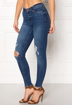Pieces Five Delly Ankle Jeans Dark Blue Denim Bubbleroom.fi