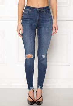 Pieces Five Delly B375 MW Jeans Dark Blue Denim Bubbleroom.se