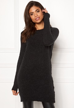 Pieces Fortuna LS Wool Long Knit Black Bubbleroom.se