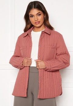 Pieces Gretzel Quilted Overshirt Canyon Rose Bubbleroom.se