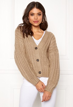 Pieces Isabella LS Knit Cardigan Warm Sand Bubbleroom.se