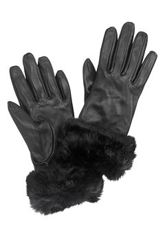 Pieces Janna Leather Glove Black Bubbleroom.no