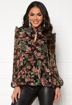 Pieces Joan LS Top Black/Flower Bubbleroom.se