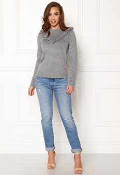 Pieces Jolanda LS Knit Medium Grey Melange Bubbleroom.fi