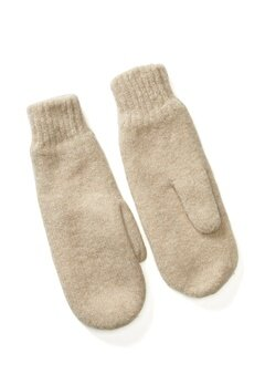 Pieces Kimme Wool Mittens White Pepper Bubbleroom.se