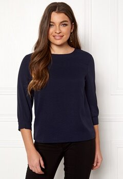 Pieces Lara 3/4 Sleeve Top Maritime Blue Bubbleroom.se