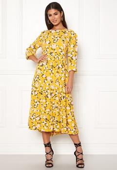 Pieces Megan LS Medi Dress Ceylon Yellow Bubbleroom.se