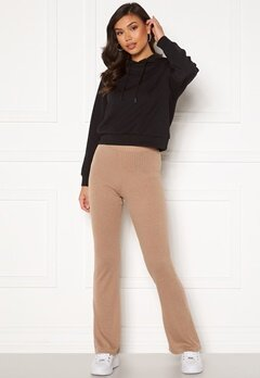Pieces Molly HW Flared Pants Warm Taupe Bubbleroom.se