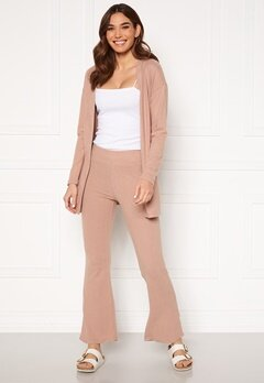 Pieces Pam MW Flared Pant Warm Taupe Bubbleroom.se